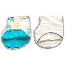 Lat 2Pack Reversible algodón muselina paños para bebés, Super absorbente Burpy baberos