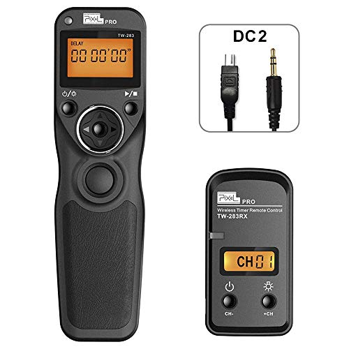 PIXEL Mando a Distancia Disparador inalámbrico TW-283/DC2 Temporizador inalámbrico Cable Disparador para Nikon cámaras Digitales