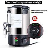 Hehilark Glühweinkocher 8 liter Glühweinkessel Heißwasserspender Heißgetränkeautomat 1000 watt mit Zapfhahn aus Edelstahl