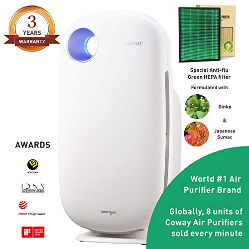 Coway Sleek Pro AP-1009 Air Purifier (Pre Filter, Patented Urethane Carbon Filter & Green Anti-flu HEPA Filter) (Coway AP-1009)