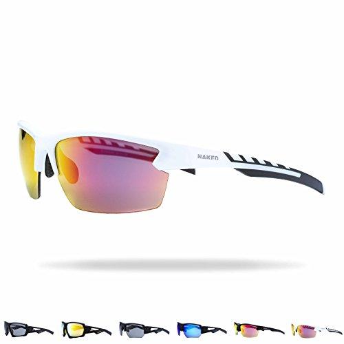 fussball sportbrille NAKED Optics Sportbrille (Halfframe White/Lens Red)