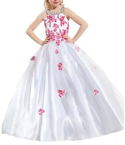PuTao Blumen Mädchen Spitze Hochzeitsfeier Prinzessin Ball Pageant Kleider White Pink 2 (Kinder Pink Pageant Kleider)