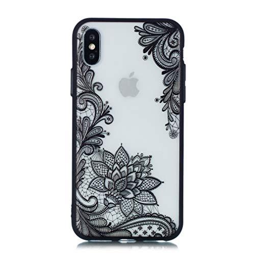 Keyihan iPhone XS / iPhone X Handy Hülle Geprägte Spitze Blume Datura Mandala Henna Blumen Muster Hart Schalen mit Soft Edge Schutzhülle Case Bumper für Apple iPhone X XS (5.8