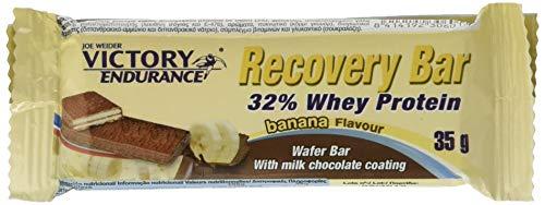 Victory Endurance Recovery Bar Sabor Plátano. Barrita recuperadora con 32% de proteína (12x35 g). Barquillo recubierto de chocolate.