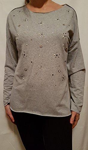 maglia felpa donna con strass e perle scollo tondo maniche lunghe Grigio