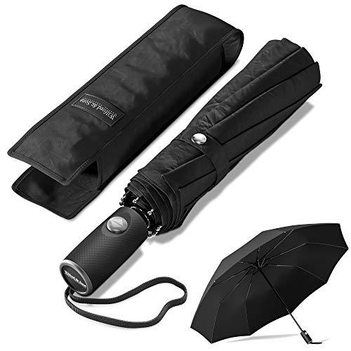 Ombrello pieghevole/portatile da borsa nero antivento | automatico & teflon idrorepellente - 140km/h prova a vento, pioggia, temporale | stabile, resistente | viaggio, business, città, ufficio