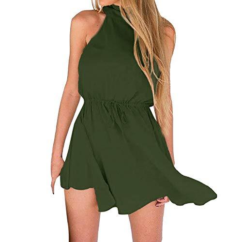 CAOQAO Damen Partykleid für Frauen im Sommer Lässige Mode Minikleid Ärmellose Bandage ohne Ärmellos - Pink, Weinrot, Grün, Marineblau - S/M/L/XL
