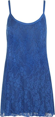 Neuen Frauen Riemchen Spitze Gefüttert Ausgestelltes Schwingen-Partei-Kleid 40-58 Royal Blue