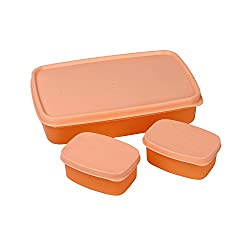 Cello Max Fresh Compact Polypropylene Lunch Box Set, 100ml/22.3cm, Set of 3, Peach