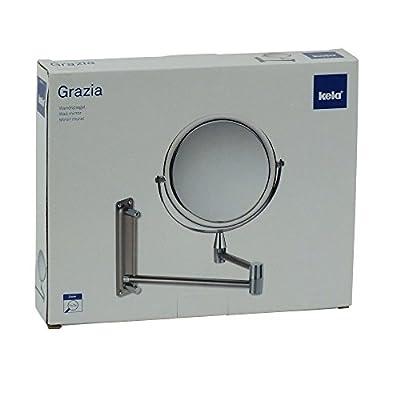 Kela 20721 Wand-Kosmetik-Spiegel, Zum Schrauben, Ausziehbar, 1-/3-fach Vergrößerung, Ø 20cm, Metall/Acrylglas, Grazia