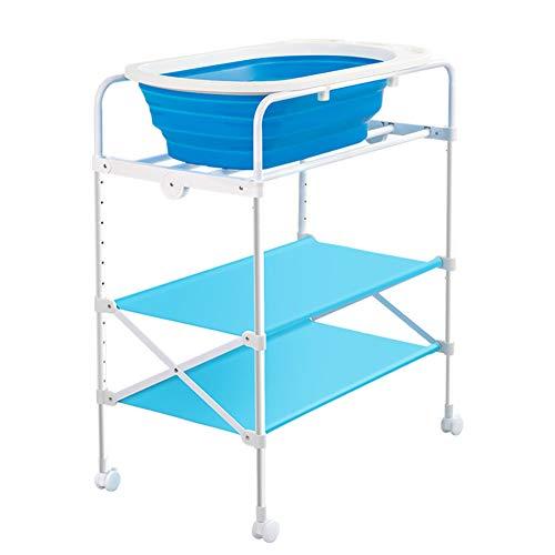 Tables à langer Douche se pliante de baignoire de station de baignade de bébé, commode infantile portative de changeur de pépinière avec des roues
