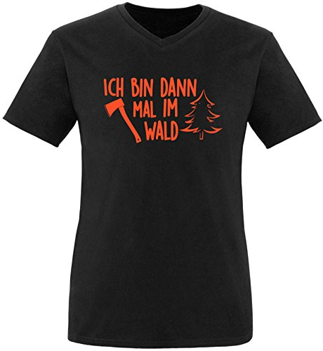 EZYshirt® Ich bin dann mal im Wald Herren V-Neck T-Shirt Schwarz/Orange