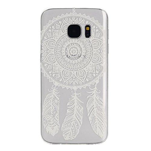 Galaxy S7 Hülle, Galaxy S7 Silikon Hülle Tasche Handyhülle [Kratzfeste, Scratch-Resistant], SainCat TPU Schutzhülle Ultradünn Weich Flexibel Silikonhülle Bumper Case Transparentes Silikon Schutzhülle  Weiß Traumfänger