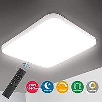 Oeegoo Lámpara de Techo Regulable, LED Plafón 24W 1680LM para Dormitorio Cocina Sala de Estar Comedor Balcón Pasillo RA>80 (Color de Luz Regulable 3000K a 6000K, Brillo Ajustable 10% a 100%)