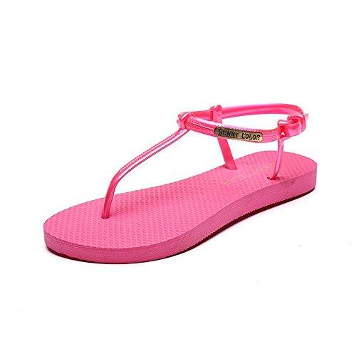 ALUK- Été - coréen plat décontracté sandales mode avec des chaussures de plage ( couleur : Rose , taille : 35 ) Rose