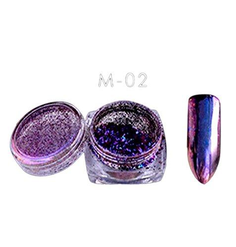 ZEZKT-Beauty Regenbogen Einhorn Hexagonfunkeln powder für 3D Nail Art | Glitzer Lidschatte | Spiegel Pulver Mirror Nail Glitzerpuder | Pigment Nail Art Glitter Mermaid Rainbow Chrome Powder Nail Mermaid DIY (B)