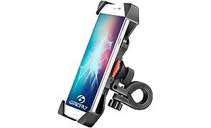 Grefay Support de Vélo Moto Téléphone Guidon de Vélo Moto Berceau Collier avec Rotation 360 pour 3,5 à 6,5 Pouces GPS pour Smartphones Autres Appareils