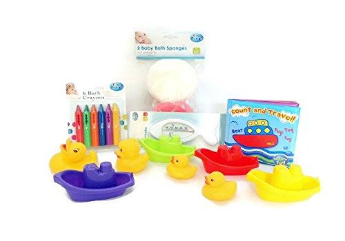 heure du bain Bundle 18 pièces - Bébé Garçon Fille Toddler de bain temps Fun Play Educational Bundle de 18 pièces : 2 x éponges de bain, 1 x Thermomètre de bain, 4 x bateaux, 4 x en caoutchouc Famille de canard de bain, 6 x crayons, 1 livre de bain étanche