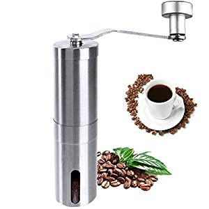 Coffee Grinder, Manual Stainless Steel Coffee Mill, Hand Burr Coffee Bean Grinder,Adjustable Grind Coarseness, Portable Ceramic Conical Burr Mill for Precision Brewing with Spoon and Cleaning Brush