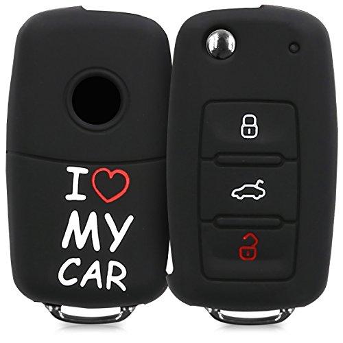 kwmobile Accessoire clé de Voiture pour VW Skoda Seat - Coque pour Clef de Voiture VW Skoda Seat 3-Bouton en Silicone Blanc-Rouge-Noir - Étui de Protection Souple