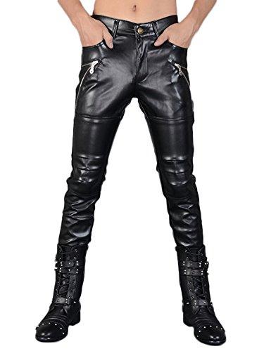 Idopy Pantalones de cuero negro de la PU del Faux del `s de los hombres