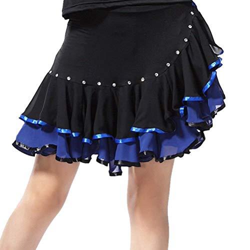GLJY Latin Dance Dress, Strass Performance Dance Kostüme Rock, Fancy Latin Dance Rock Für Frauen,Blue,S