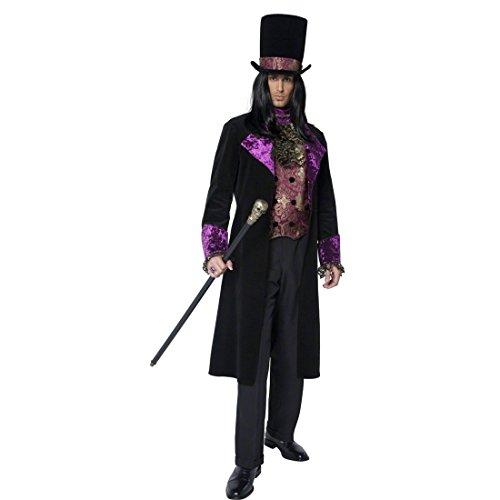 Gothic Graf Kostüm Edelmann Baron Outfit schwarz lila XL 56/58 Grafen Vampir Vampirkostüm Dracula Halloween Kostüm Herren
