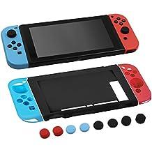 MOSISO Silicona Funda para Nintendo Switch, Joy-Con Protectores de Gel Antideslizante Cubierta Ligera de Protección con Tapas de Agarre de Pulgar para Nintendo Switch, Rojo y Azul