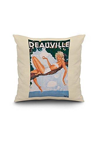 Deauville Vintage Poster (artist: Domergue) France (18x18 Spun Polyester Pillow Case, White Border)