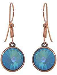 RIVOLI Antik Kupfer Ultra Blau Swarovski Crystal Haken Ohrringe