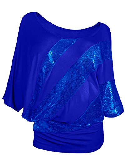 BienBien Camisetas con Lentejuelas Mujeres Elegantes Irregular Sequins Blusa Manga Corta Camiseta Hombros Descubiertos Fiesta Tops Barco Cuello Suelto T Shirt