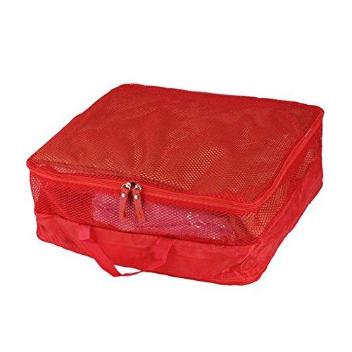 TutuShop 5er-Sets Organizer Tasche | Nylon Reisegepäck Aufbewahrungstasche | Wasserdicht Kleidertasche Koffertaschen für Reise - Rot Rot