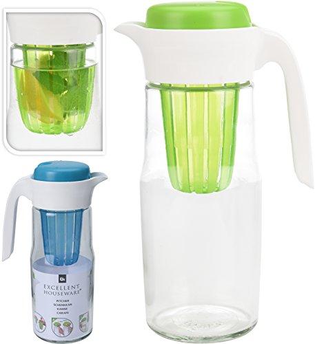Teekanne Karaffe Kanne mit Einsatz lt Hersteller 1,4 L mit Filter Einsatz empfohlene Füllmenge 1,2 L - Glas (grün)