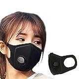DGJEL Männer Frauen Staubschutzmaske Anti PM2.5 Verschmutzung Gesichtsmund Atemschutzmaske Schwarz Atmungsaktive Ventilmaske Filter 3D Mundabdeckung