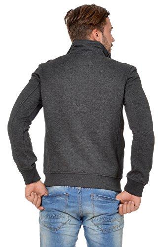 M.Conte Herren Sweatjacke warme Winter Jacke Sweatshirt Longsleeve Pullover Grau Melange Marine Blau Anthrazit M L XL XXL Sweatjacke Reißverschluss Ouray Anthra