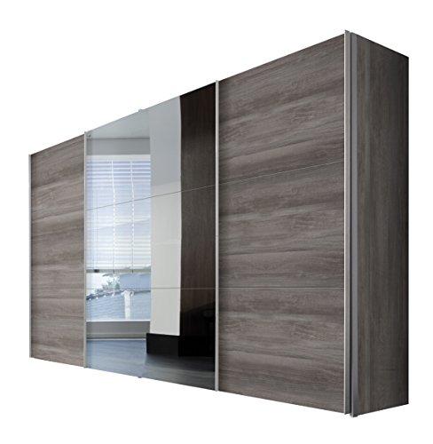 Express Möbel 45000-635 Solutions Schwebetürenschrank, 3-türig, 350 x 216 x 58 cm, Silber-Eiche / Spiegel, Blenden und Griffleisten alufarben
