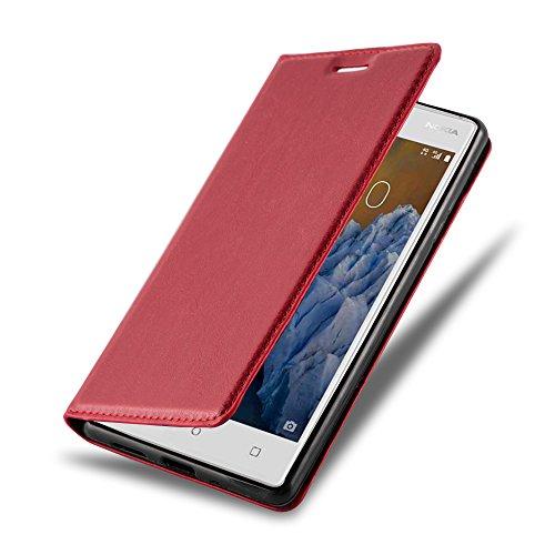 Cadorabo - Book Style Schutz-Hülle mit Standfunktion für > Nokia 3 < mit unsichtbarem Magnet-Verschluss - Case Cover Schutzhülle Etui Tasche mit Kartenfach in APFEL-ROT