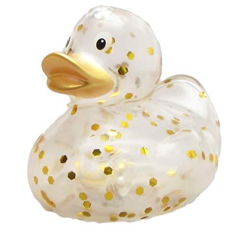 Duckshop I Badeente Glitzer transparent Gold I Quietscheente I L: 9 cm
