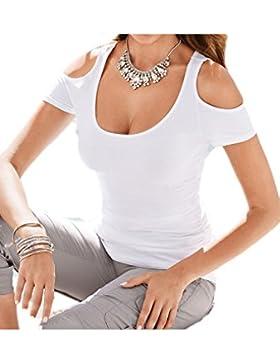 La Mujer Es Elegante Hombro Frío Verano T Shirt Blusas Tops