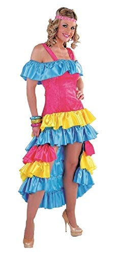 narrenkiste M213177-4-M pink-bunt Damen Brasilien Kleid Samba Kostüm - Samba Kostüm Brasilien