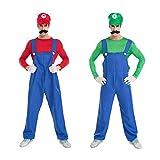 Brightown Super Mario Bros Klempner Kostüm für Herren Cosplay Anzüge für Halloween und Weihnachten Role Party mit Hut, Gefälschte Schnurrbart, Handschuhe