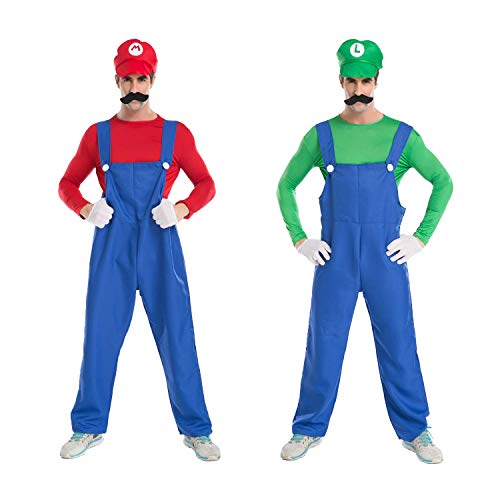 (Brightown Super Mario Bros Klempner Kostüm für Herren Cosplay Anzüge für Halloween und Weihnachten Role Party mit Hut, Gefälschte Schnurrbart, Handschuhe)