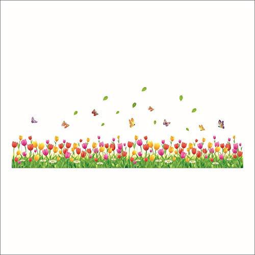 iBaste_top Wandaufkleber PVC Kreative 3D Tulip Muster Tapete Ländlichen Stil Removable Wasserdichte Wandtattoos Wohnzimmer Schlafzimmer Hintergrund Dekoration Cartoon Wandaufkleber Wohnkultur Le Top Tulip