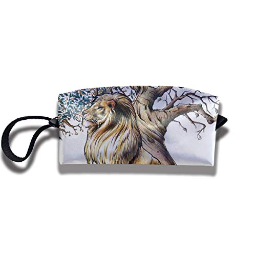 Fabric Cosmetic Bags Travel Makeup Case Tree Life Lion Tattoo Unique Lazy Organizer Multi-Functional Storage Bags