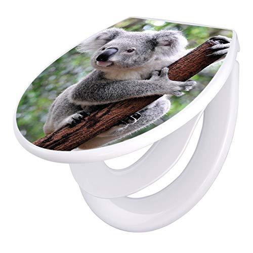 banjado Familien WC Sitz mit Absenkautomatik | Toilettendeckel mit Kindersitz | Klodeckel weiß | Toilettensitz mit Soft Close | 44 x 37 cm WC Deckel mit Motiv Koala