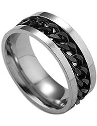 BoyZ! SIlver Black Stainless Steel Chain Rotation Men Finger Ring For Men