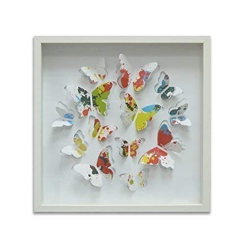 WALPLUS Wand Aufkleber 13Bunte Lackierung Schmetterlinge MDF Bilderrahmen Home Dekoration DIY Living Schlafzimmer Décor Tapete Kinder Zimmer Geschenk, Mehrfarbig