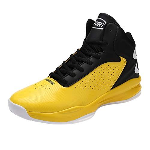 SHE.White Basketball Schuhe Herren Outdoor Anti-Rutsch Sneaker High-Top Sportschuhe Laufeschuhe Atmungsaktiv Ausbildung Turnschuhe Verschleißfeste Dämpfung Basketballstiefel 39-46