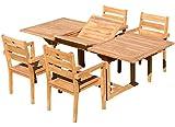 ASS Teak Set: Gartengarnitur Saba Ausziehtisch 150-210cm x 90cm + 4 Kingston Stapelsessel JAV von