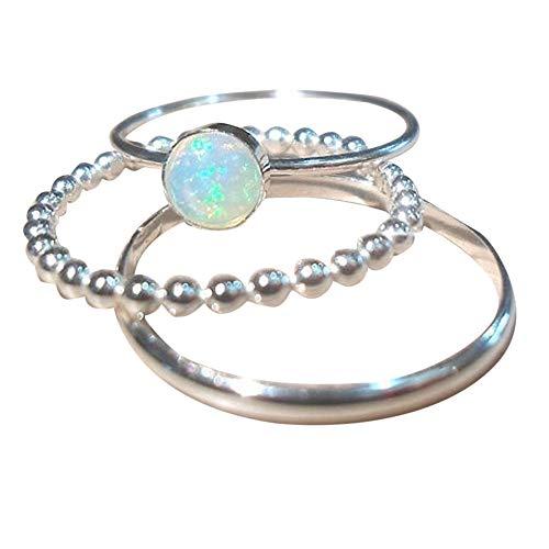Ringe In Bijouterie,3PC Exquisite Damen Silber Ring Circular Cut Opal Diamond Band Ringe,ringe für damen daumen,Silber, (Ring Ewigkeit Silber Granat)